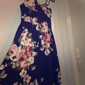 Cute Black Floral Pattern Skater Dress
